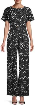 Calvin Klein Ditsy Floral Short-Sleeve Jumpsuit