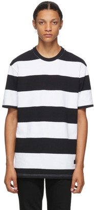 Givenchy Black and White Striped Logo Patch T-Shirt