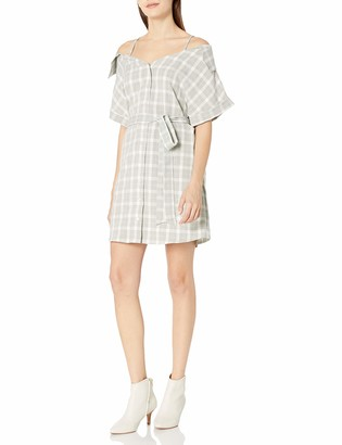 MinkPink Women's Gingham Print Off Shoulder Shirt Dress
