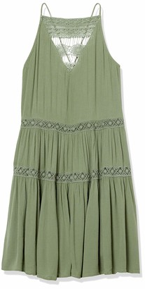 Derek Heart Women's Caren's Strappy Tiered Dress with Crochet Trim