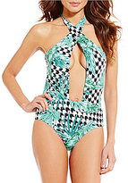 Gianni Bini Tropical Houndstooth Wrap Plunge One Piece