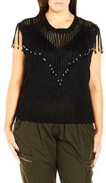 City Chic Plus Size Women's 'Fringe Fever' Sleeveless Sweater