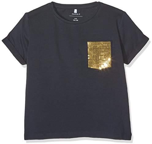 Name It Girl's NITHALINE SS Short TOP F NMT T-Shirt, Blue Sky Captain