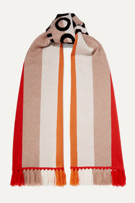 Burberry Fringed Intarsia Cashmere Scarf - Red