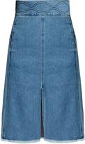 See by Chloe Embossed-waist denim skirt