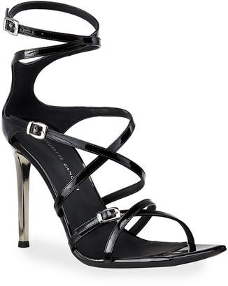 Giuseppe Zanotti 105mm Patent Strappy Square-Toe Sandals