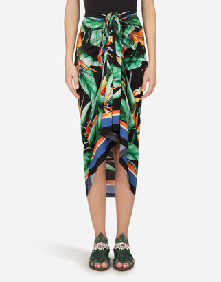 Dolce & Gabbana Longuette Wrap-Around Skirt In Charmeuse With Foulard Print