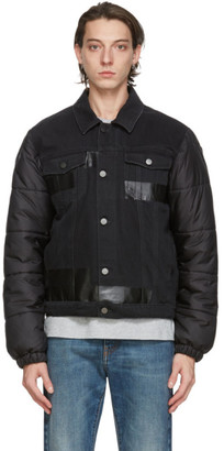 McQ Black Denim Puffa Hybrid Jacket