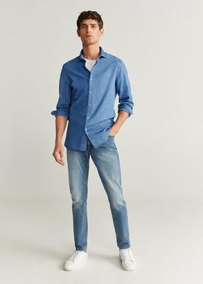 MANGO MAN - Slim fit cotton chambray shirt light blue - XS - Men