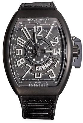 Franck Muller Vanguard Brushed Titanium, Leather Rubber Strap Watch