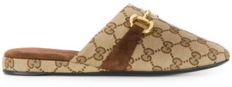 Gucci monogram pattern Horsebit mules