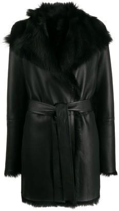 Joseph Fur Lined Belted Coat