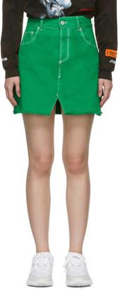 Heron Preston Green Denim Workwear Miniskirt