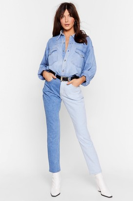 Nasty Gal Womens Best of Both Worlds Two-Tone Mom Jeans - Blue - 4