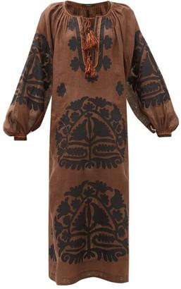 Vita Kin - Shalimar Floral-applique Linen Dress - Womens - Brown Multi
