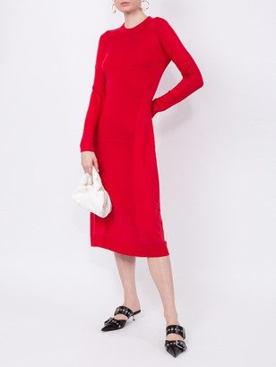 Proenza Schouler Ribbed Knit Long Sleeve Dress Red
