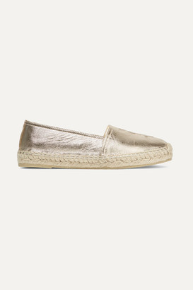 Saint Laurent Logo-embossed Metallic Leather Espadrilles - Gold