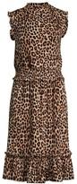 MICHAEL Michael Kors Leopard-Print Shirred-Waist Dresss
