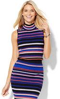 New York & Co. Mock-Neck Knit Shell - Stripe