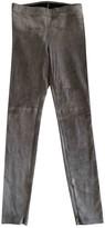 Elie Tahari Grey Suede Trousers for Women