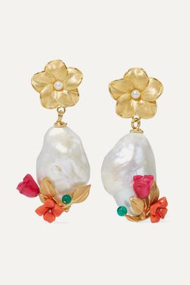 OF RARE ORIGIN Power Gold Vermeil Multi-stone Earrings - Coral