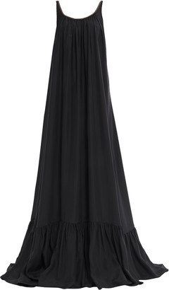 Brunello Cucinelli Open-back Gathered Bead-embellished Silk-chiffon Gown