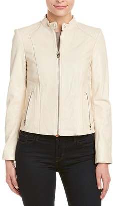 Cole Haan Women's Perforated Italian Leather Moto Jacket