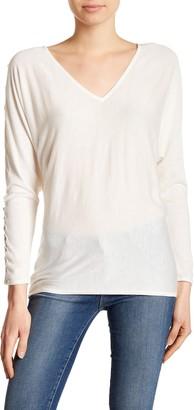 Splendid Lace-Up Slit Sleeve V-Neck Sweater