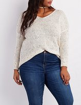 Charlotte Russe Plus Size Speckled V-Neck Sweater