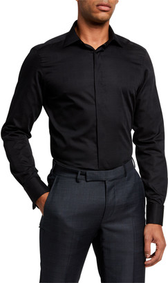 Ermenegildo Zegna Men's Formal Hidden-Placket Trim-Fit Dress Shirt