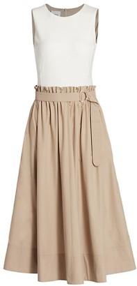 Akris Punto Contrast Top Ruched Waist Dress