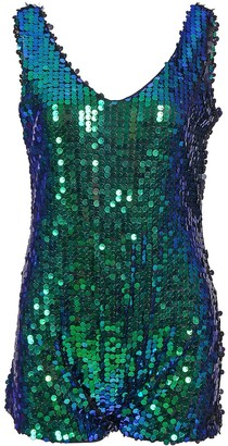 BFD One 1920's One Piece Sequin Romper Suit Festival Charleston All in One Bathing Suit Green Sequin 1920s Bathing Suit Gold Sequin 1920s Bathing Suit Silver Sequin 1920s Bathing Sui (Green M/L)