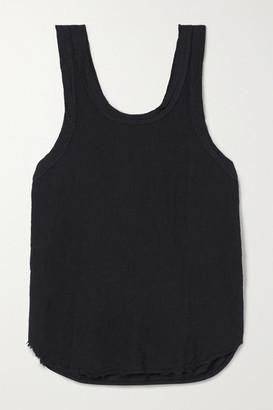 Bassike Organic Cotton-trimmed Frayed Linen-jersey Tank - Black