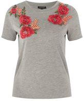 Topshop Floral applique t-shirt