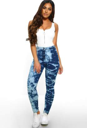 Pink Boutique Funk to Funky Blue Tie Dye Skinny Jeans
