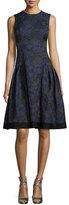 Carmen Marc Valvo Sleeveless Floral-Jacquard A-Line Dress, Midnight