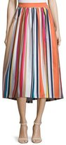 Alice + Olivia Nikola Striped High-Waist Midi Skirt, Multicolor
