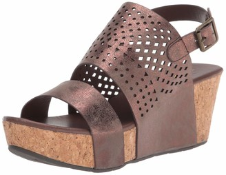 Volatile Women's Spruce Ankle Strap Die-Cut Wedge Sandal Rosegold 7