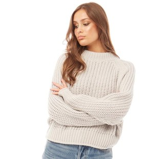 Brave Soul Womens Bianca Fishermans Knit High Neck Jumper Cloud Grey