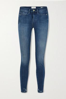 Frame Le Skinny De Jeanne Distressed Mid-rise Jeans - Mid denim