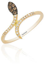 LeVian 14K Yellow Gold, Diamond and Chocolate Diamond Snake Ring, 0.1 TCW
