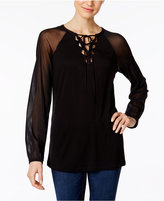 INC International Concepts Lace-Up Illusion Top, Only at Macy's