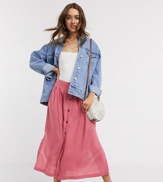 ASOS DESIGN Petite button front midi skirt in rose