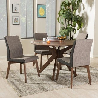 Baxton Studio Kimberly Mid-Century Round Dining Table & Chair 5-piece Set