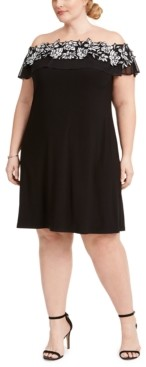 MSK Plus Size Illusion Off-The-Shoulder Dress