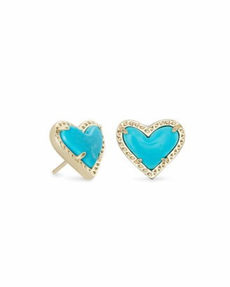 Kendra Scott Ari Heart Stud Earrings for Women Fashion Jewelry 14k Gold-Plated Turquoise Magnesite
