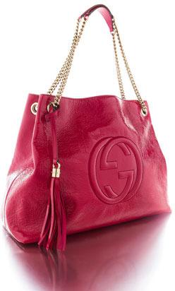 Gucci Soho Patent Leather Shoulder Bag, Fuchsia