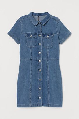 H&M Fitted Twill Dress - Blue