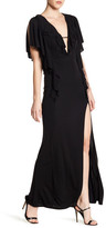 ABS by Allen Schwartz Matte Jersey Draped Ruffle Gown