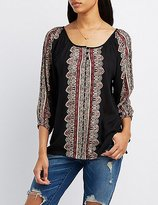Charlotte Russe Printed Babydoll Tunic Top